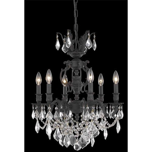 9506 Marseille Collection Hanging Fixture D20in H23in Lt:6 Dark Bronze Finish (Royal Cut Golden Shadow Crystal)