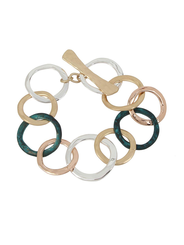 Hearts Tri-Tone Circle Link Bracelet