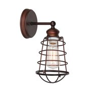 Design House 519710 Ajax Industrial Modern 1-Light Indoor Wall Sconce with Metal Wire Cage for Bathroom Hallway Foyer Kitchen, Coffee Bronze