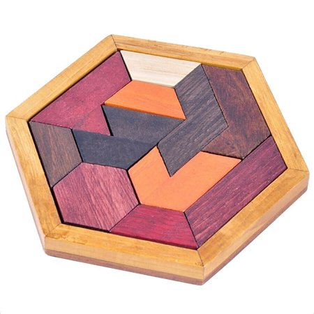 Wooden Tangram Jigsaw Puzzles with Hexagonal Base Brain Teaser Intelligence Toy Gift for Kids Adult
