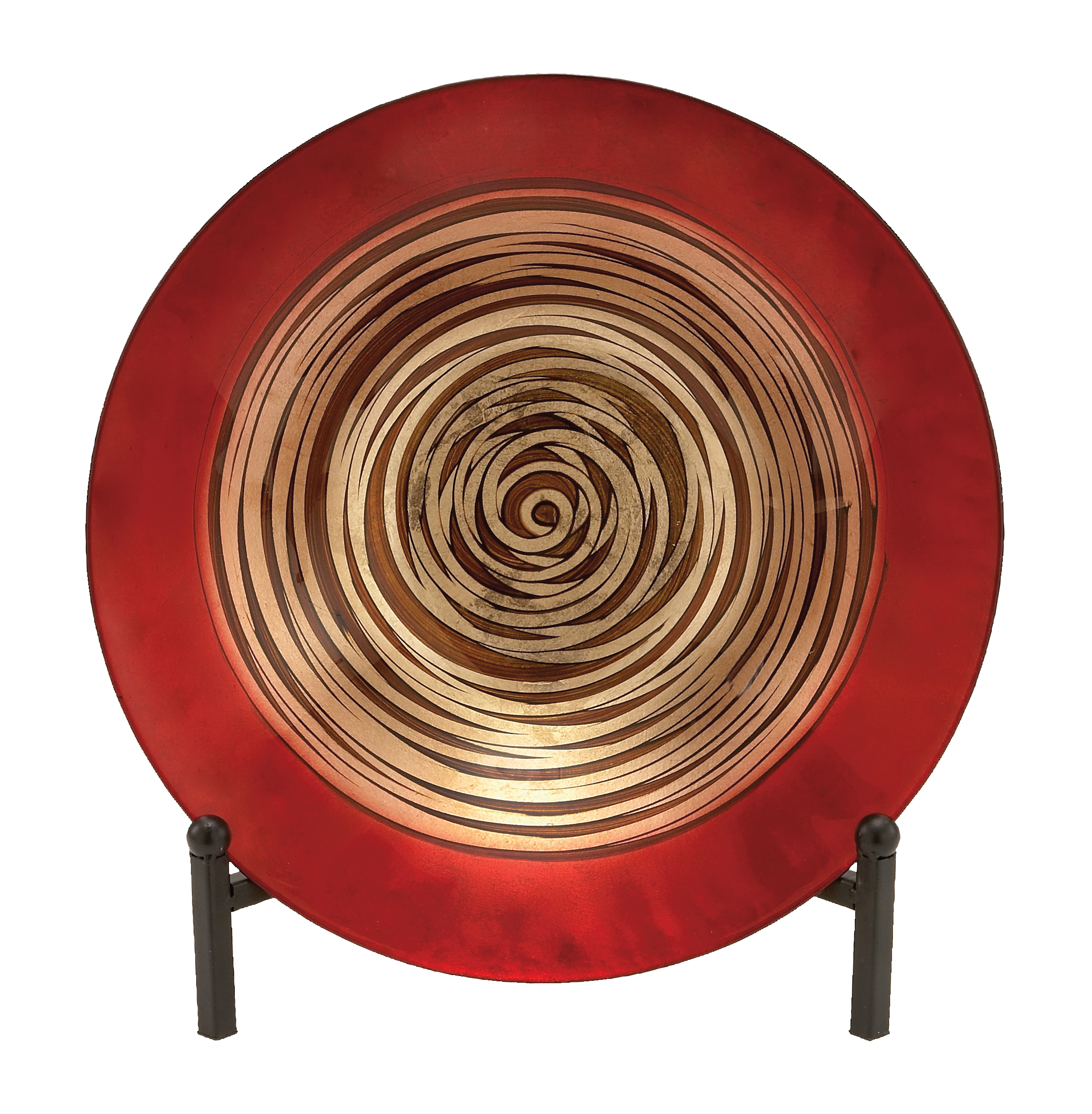 Decmode Contemporary 15 Inch Geometric Spiral Glass Bowl with Easel