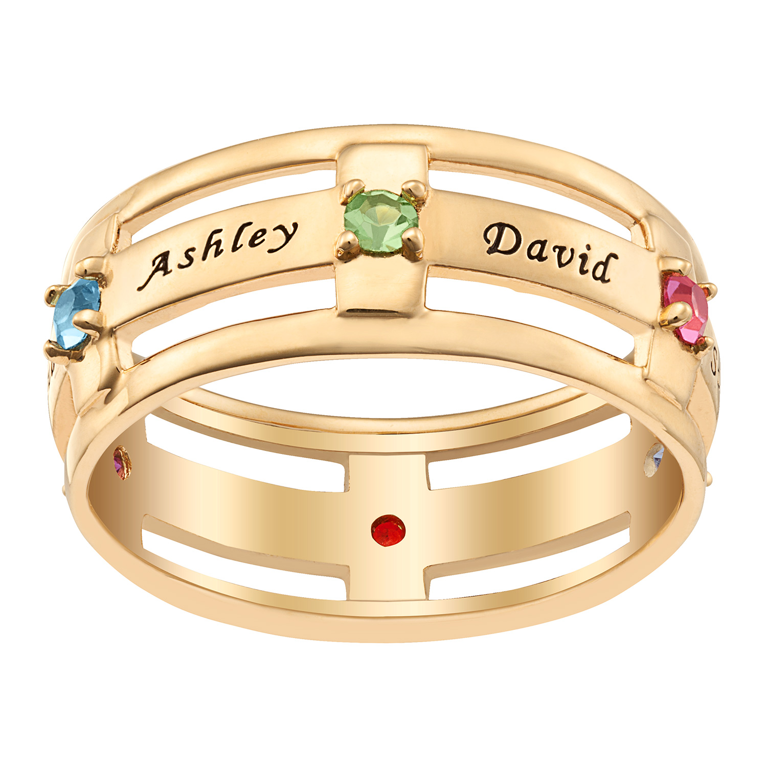 Personalized Women's Silvertone or Goldtone Family Name And Birthstone Ring