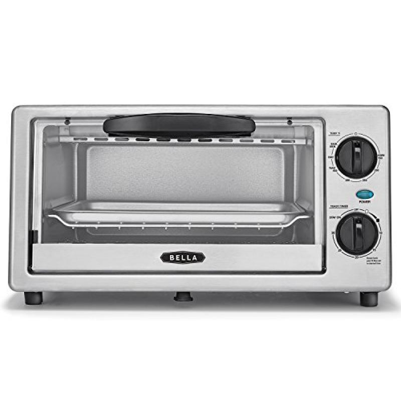 BELLA 4 Slice Countertop Toaster Oven, 1000 Watt Quartz Element by