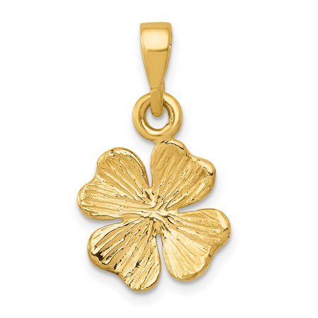 - 14k Yellow Gold Textured Four Leaf Clover Pendant Charm Necklace Good Luck Italian Horn For Women Gift Set
