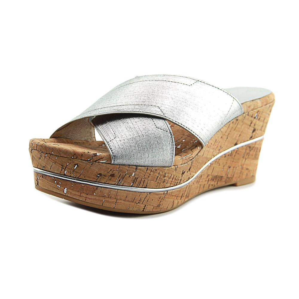 Donald J Pliner Dani Women Open Toe Canvas Silver Wedge Sandal by Donald J Pliner