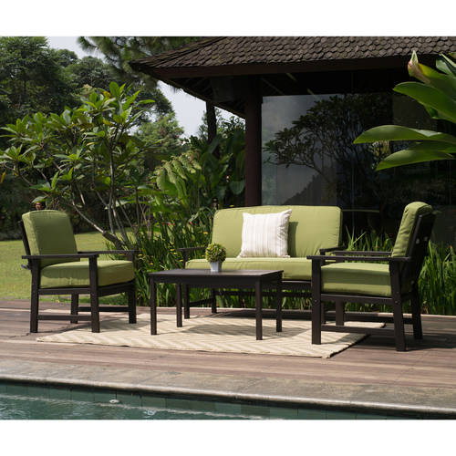 Delahey 4-Piece Patio Conversation Set, Dark Brown, Seats 4