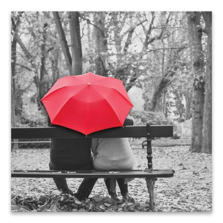 """Gallery Direct """"Couple Sitting Together Under Umbrella"""" Coated Embellished Canvas - 24W x 24H x 1.25D - Multi-color"""