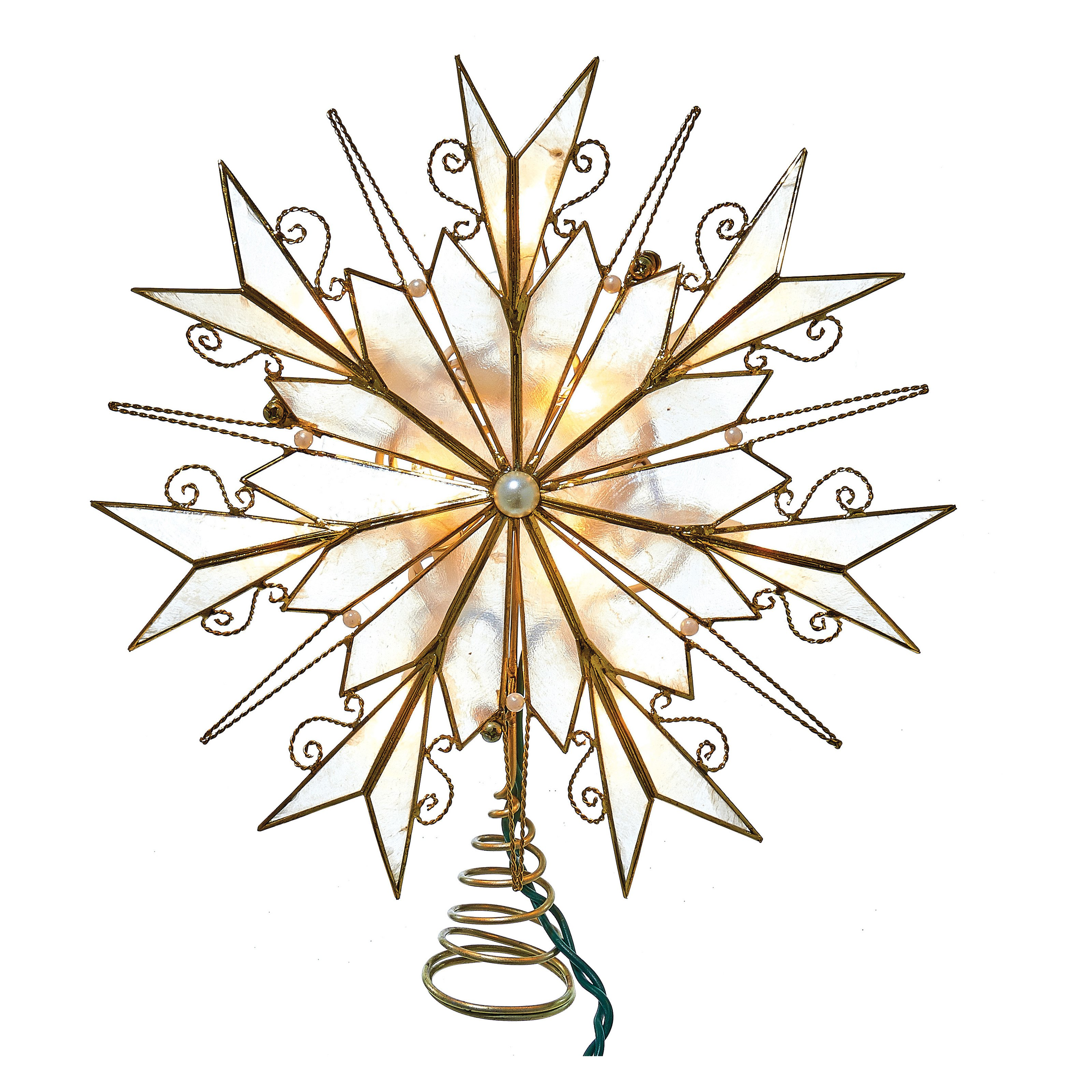 Kurt Adler 10-Light Capiz Scrollwork Snowflake Tree Topper with Pearl Accents