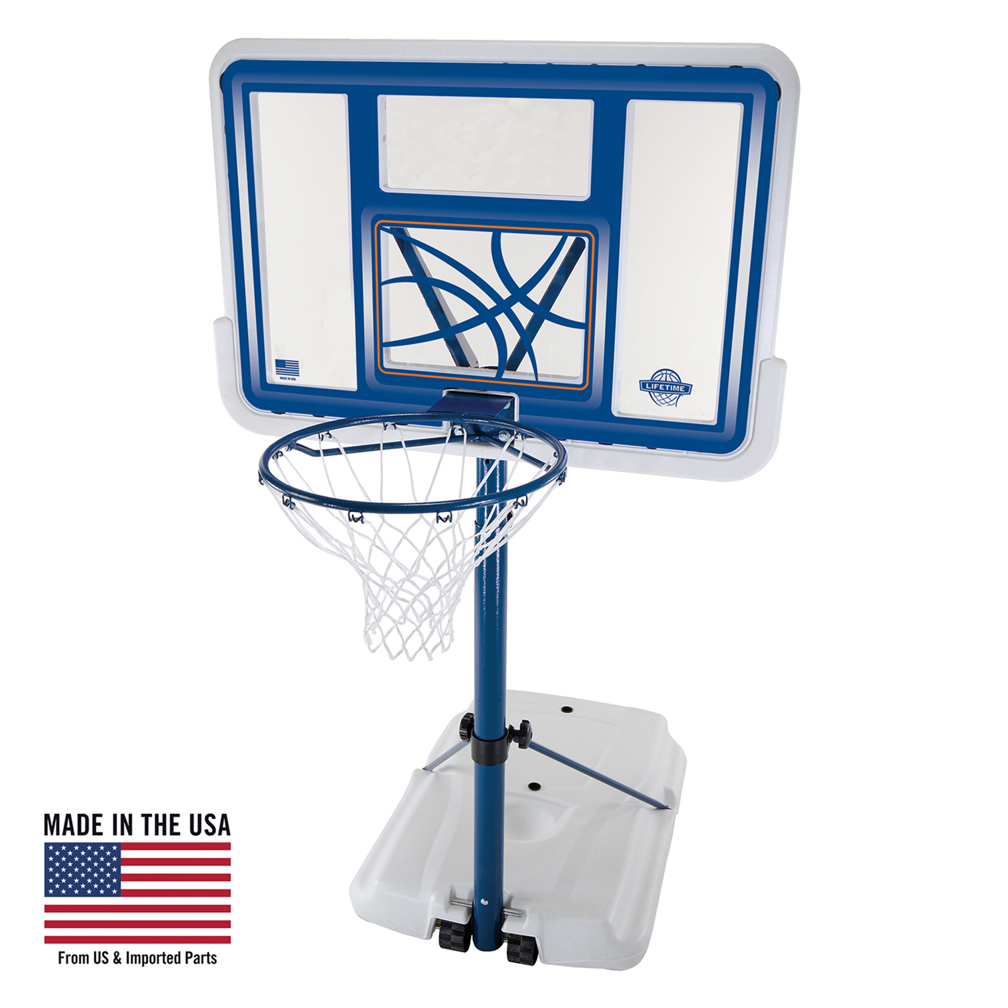 """Lifetime 44"""" Acrylic Pool Side Portable Height Adjustable Basketball System, 1306 by Lifetime Brands"""