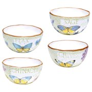 Certified International Hand-painted Herb Garden Assorted Ice Cream Bowls (Set of 4)