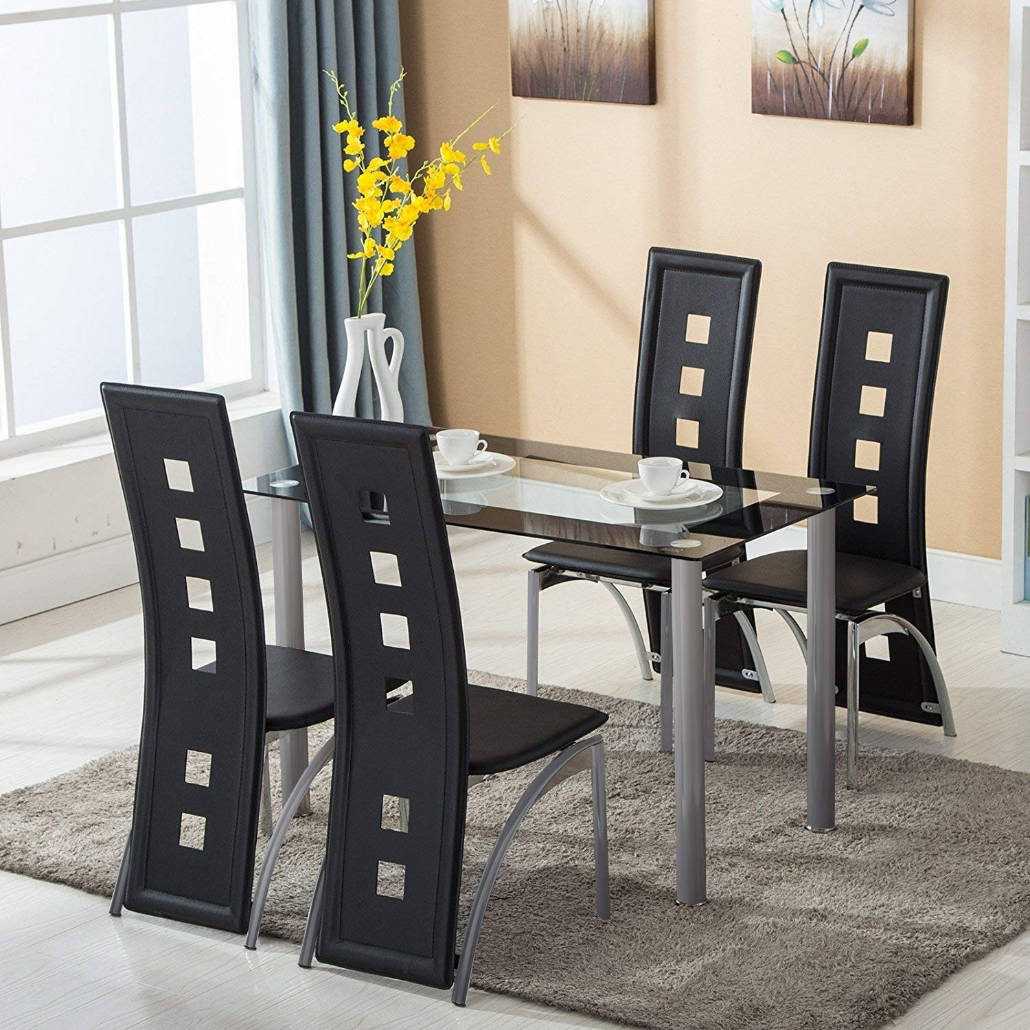 Ktaxon 5 Piece Glass Dining Table Set With 4 Faux Leather Chairs