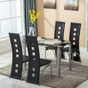 Ktaxon Dining Table Set Tempered Glass Dining Table with 4pcs Chairs Transparent & Black
