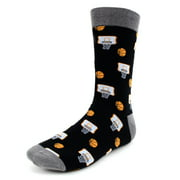 Urban-Peacock Men's Novelty Fun Crew Socks for Dress or Casual - Basketball - Black with Grey