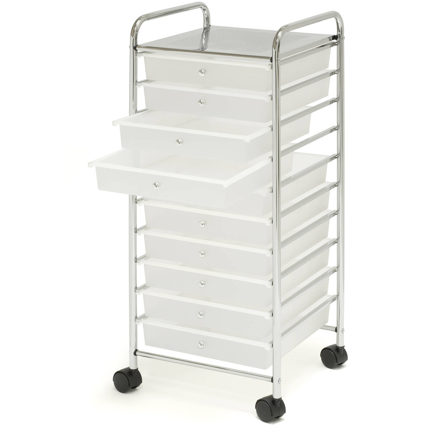 Seville Classics Large 10-Drawer Organizer Cart, Frosted White