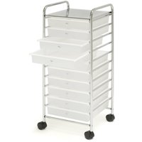 Large 10-Drawer Organizer Cart, Frosted White by Seville Classics