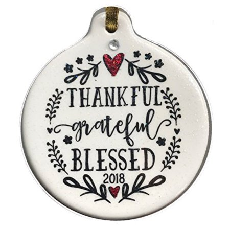 Laurie G Creations Thankful Grateful Blessed 2018 Porcelain Christmas Ornament Gift Boxed