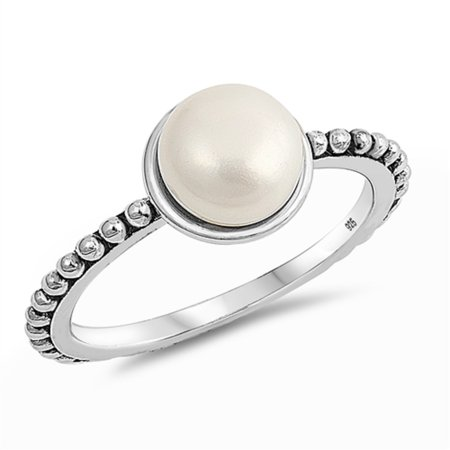 Synthetic Pearl Bead With Beaded Band Ring Sterling Silver Size 7
