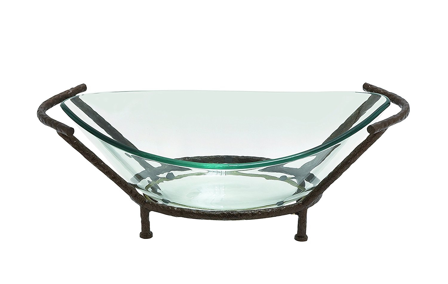 Woodland Imports 68541 Oval-Shaped Glass with Metal Stand by Benzara