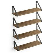 "Wallniture Ponza 17"" Wall Shelf Rustic Decor Set of 4 Floating Shelves, Wood, Natural Burned"
