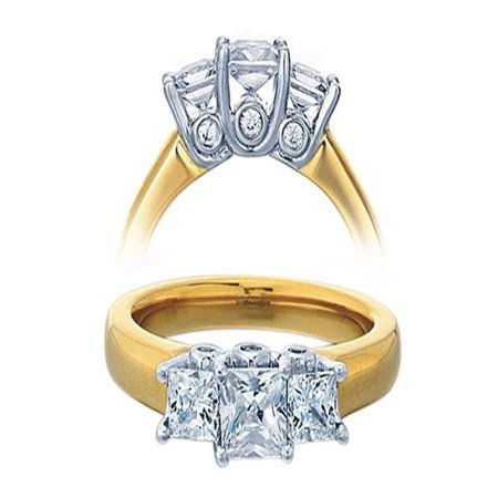 3/4 Carat Three Stone Princess Diamond Trilogy Engagement Ring for Her in yellow
