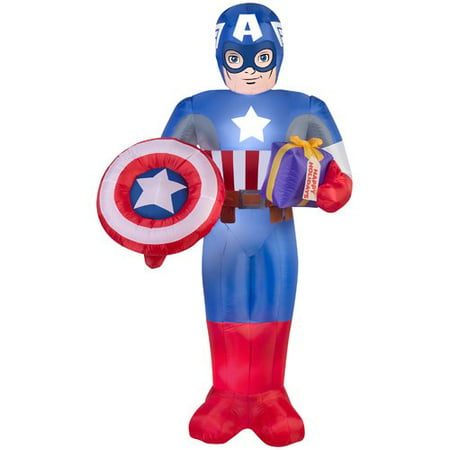 Gemmy Industries Airblown Captain America with Present and Shield Large Marvel - Captain America Shields