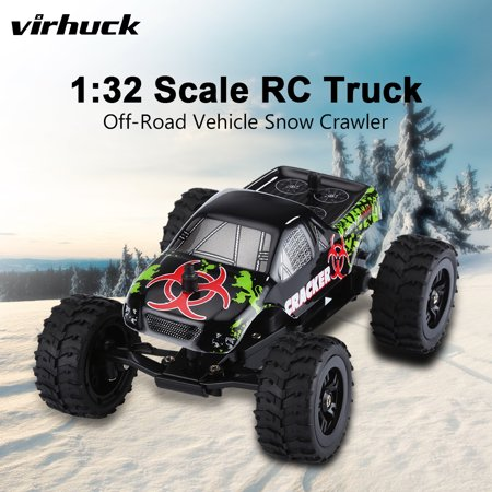 Virhuck 1/32 Scale 2WD Mini RC Truck for Kids, 2.4GHz 4CH Off-road Vehicle Rock Crawler RC Car Racing Car 12MPH Toy Car Gift