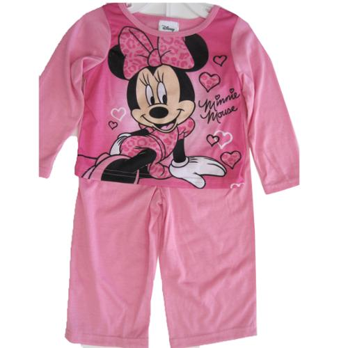 Disney Little Girls Pink Heart Minnie Mouse 2 Pc Pajama Set 2T-4T