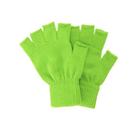 Winter Fingerless Gloves without Flap Cover Mitten Gloves, 4711_Lime