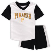 Pittsburgh Pirates Toddler Little Hitter V-Neck T-Shirt & Shorts Set - White/Black