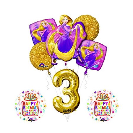 Disney Princess Birthday Party Decorations (NEW! Tangled Rapunzel Disney Princess 3rd BIRTHDAY PARTY Balloon decorations)