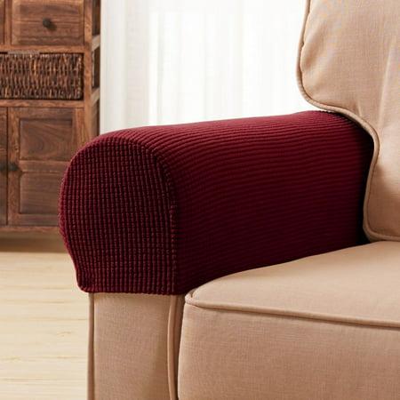 Subrtex Spandex Stretch Armrest Covers Set of 2 (Wine)