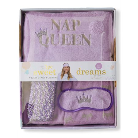 Sweet Dreams Womens 4-Piece Plush Gift Box Pajama Set (Top, Pant, Socks, and Eye Mask)