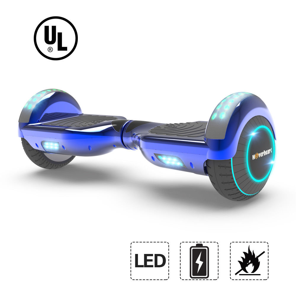 6.5'' Hoverboard LED Bluetooth FLASHING WHEELS Scooter UL Listed New Chrome Blue