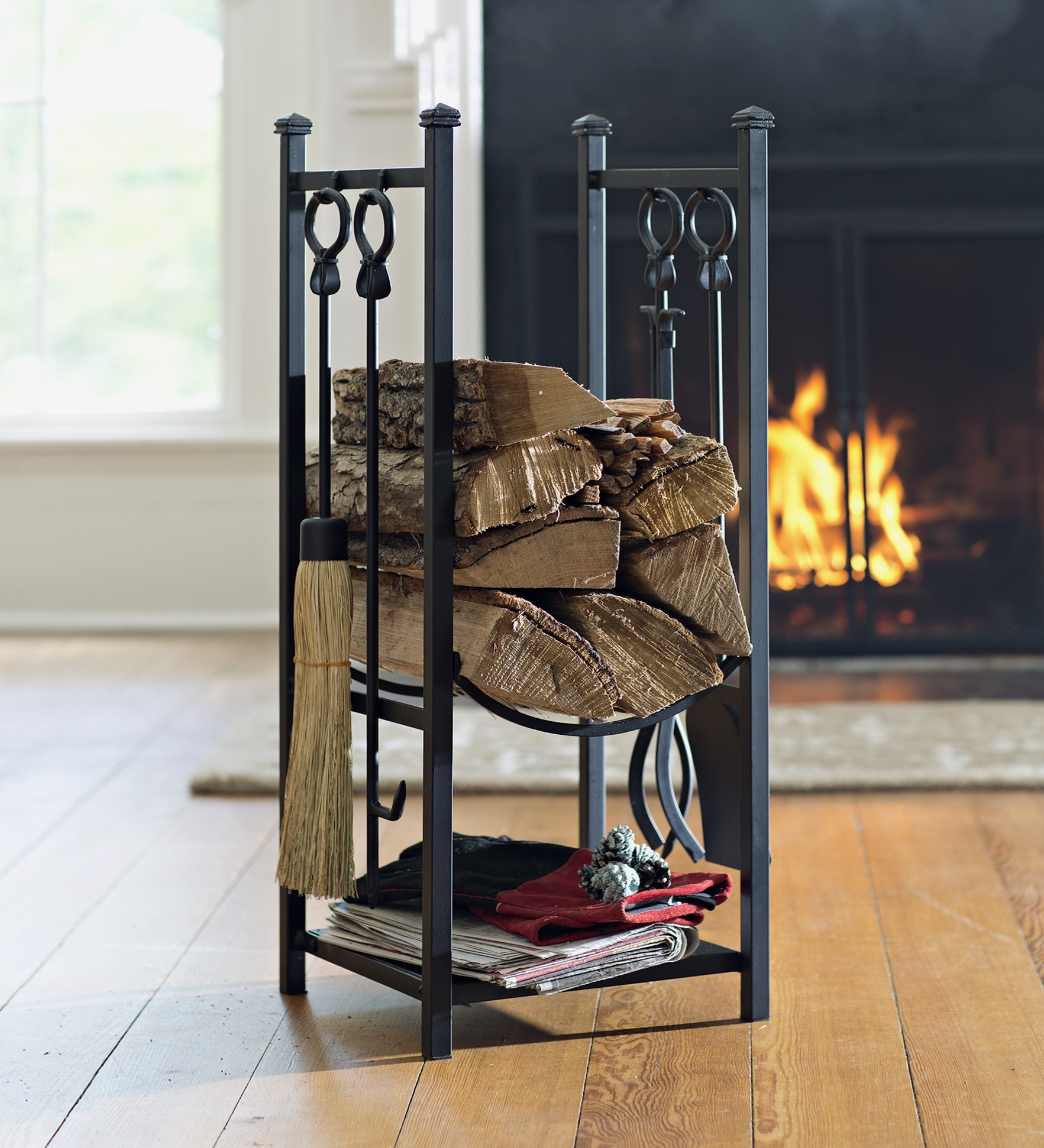 All-In-One Wood Rack w/ Fireplace Tool Set, in Black