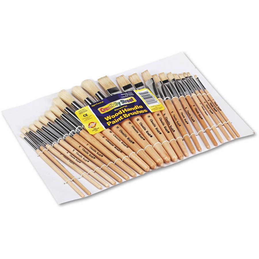 Creativity Street Preschool Brush Set, Sizes 1-12, Natural Bristle, Flat and Round, 24/Set