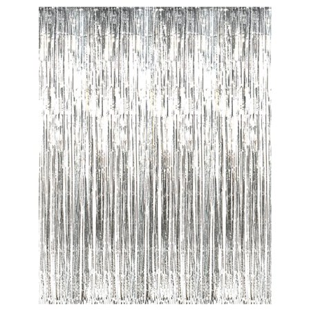 3' x 8' Silver Tinsel Foil Fringe Door Window Curtain Party Decoration - Circus Door Decorations