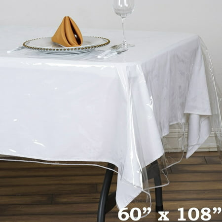 Balsacircle Clear Plastic Vinyl Tablecloth Protector Table