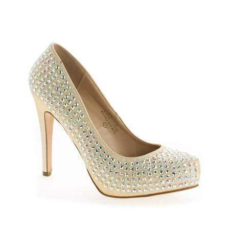 Stiletto Heel Slingback Pumps - Summer49 by Blossom, Rhinestone & Glitter Extra Comfort Stiletto Heel Dress Pumps