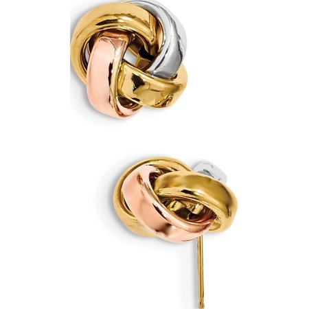 14k Tri-Colored Gold  w/White & Rose Rhod Pol Love Knot Post (13x12mm) Earrings - image 2 de 2