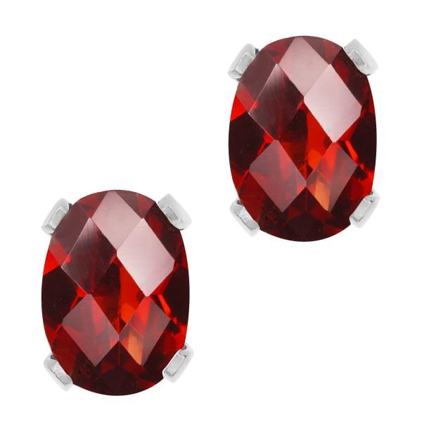 1.60 Ct Oval Checkerboard Shape Red Garnet Sterling Silver Stud Earrings