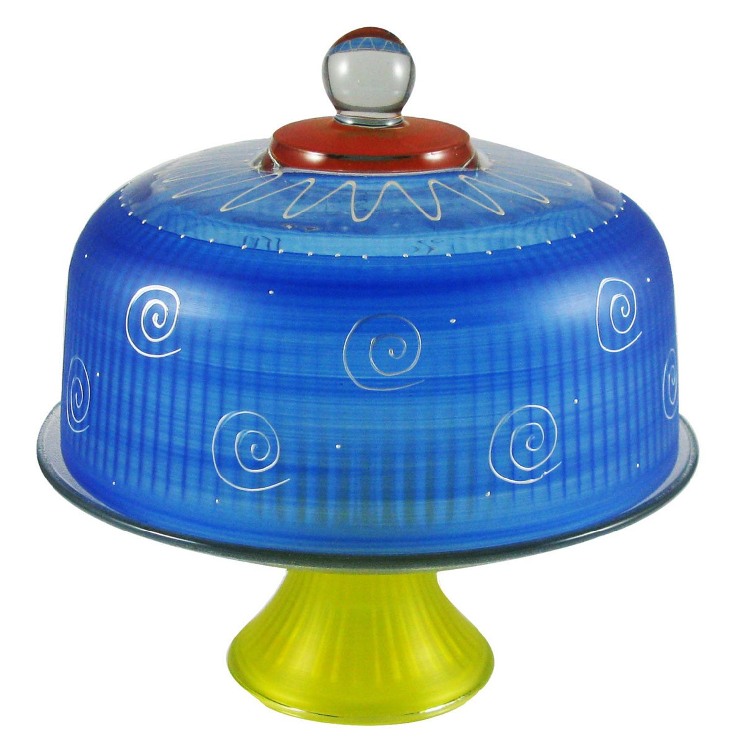 Frosted Dark Blue and White Hand Painted Glass Convertible Cake Dome 11""