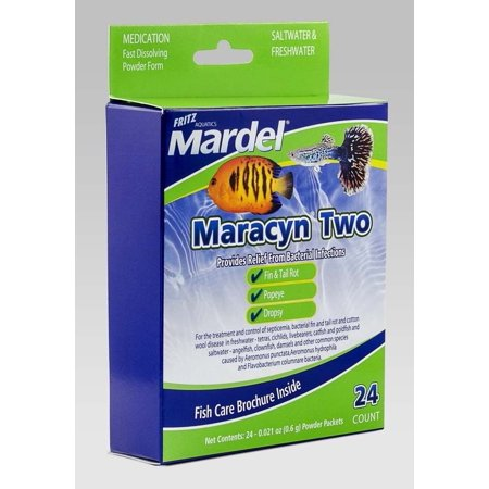 Mardel Maracyn Two Antibacterial Aquarium Medication Powder - 24 Pack - (24 x 0.021 oz Powder Packets)