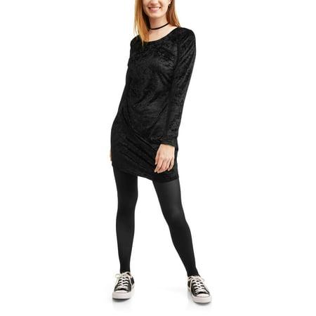 Juniors Long Sleeve Crushed Velvet Tunic Shirt Dress