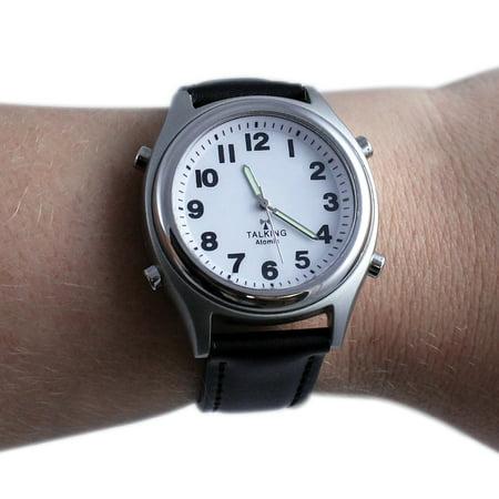 Talking Atomic Watch w/ Illuminated Hands & Adjustable Genuine Leather Band (Harley Genuine Watch)