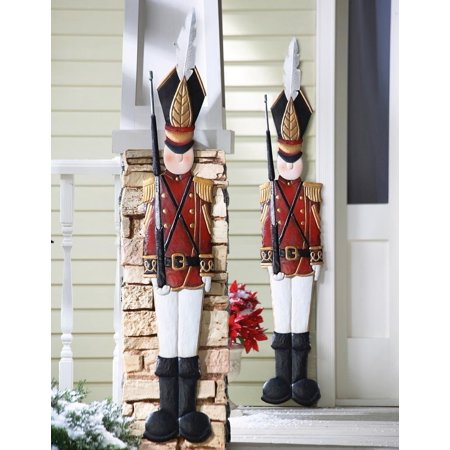 knlstore set of 2 christmas holiday metal toy soldiers nutcracker outdoor mounted wall hanging decoration - Outdoor Toy Soldier Christmas Decorations