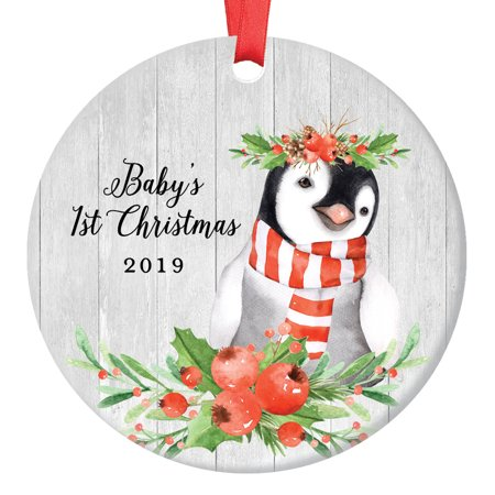 Baby's 1st Christmas 2019 Ornament Sweet Infant Girl Penguin First Holiday Newborn Daughter Ceramic Keepsake Present to New Parents Mommy & Daddy 3