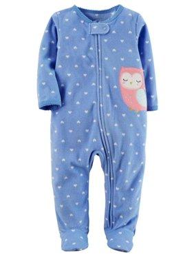 Carters Infant Girls Blue Fleece Heart Owl Sleeper Footie Pajama Sleep & Play