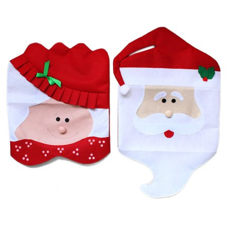 1pair Creative Lovely Christmas Chair Covers Santa Snowman Home Decoration + Smiling Face Stickers (Smiling Santa Faces)