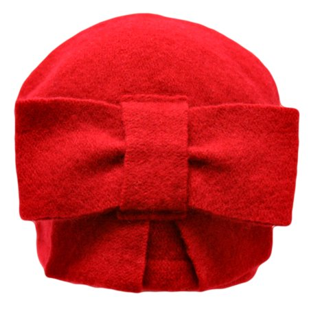 Red Simple Wool Pillbox Hat With Bow Fabulous Red Wool Hat