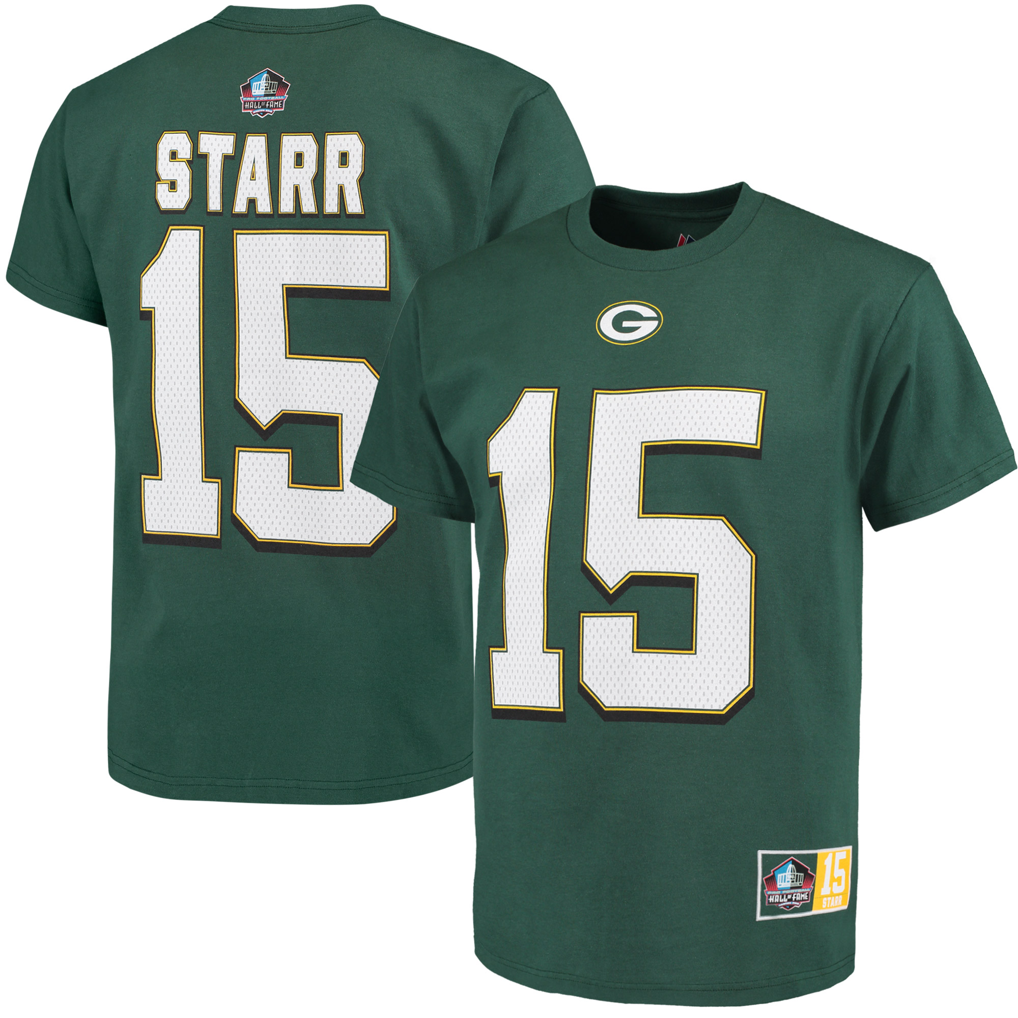 Bart Starr Green Bay Packers Majestic Hall of Fame Eligible Receiver II Name & Number T-Shirt - Green